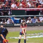 Annie Wersching at bat in celebrity softball game