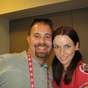 Annie Wersching with fan at celebrity softball game