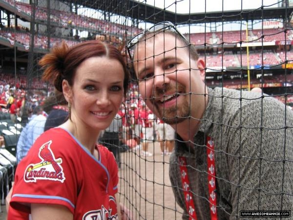 Annie Wersching poses with fan at Celeb Softball game