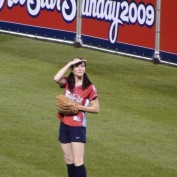 Annie Wersching in Celebrity Softball 2009 Game Looking at Crowd