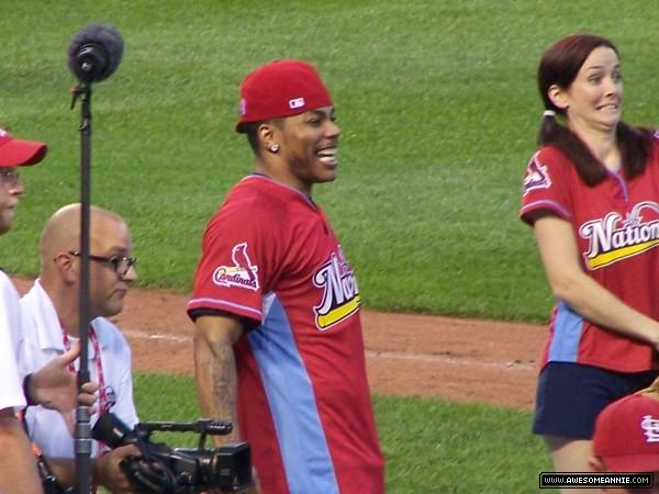 Annie Wersching with Nelly at Celebrity Softball Game