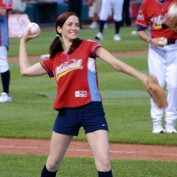 Annie Wersching pitching at Celebrity Softball game 2009