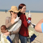 Annie Wersching and Joely Fisher at Fox Earth Day Beach Cleanup 2009
