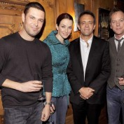 Annie Wersching with Carlos Bernard, Kiefer Sutherland, and Mark Williams