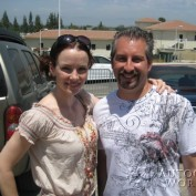 Annie Wersching poses with fan at Nuts for Mutts Dog Show 2009