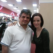 Annie Wersching with fan Hamlet Babakhanian