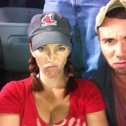 Annie Wersching and friend Ritter Hanz at St. Louis Cardinals vs. Los Angeles Dodgers game