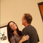 Annie Wersching and Kiefer Sutherland hugging behind the scenes of 24