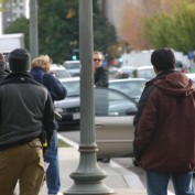 Annie Wersching and Kiefer Sutherland filming 24 in Washington DC