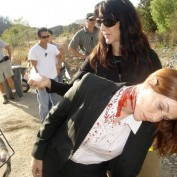 Annie Wersching bloody neck makeup 24 Season 7 BTS
