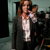 Annie Wersching bloody and sipping water