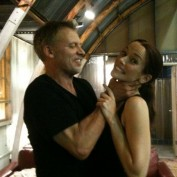 Annie Wersching and Callum Keith Rennie on 24 set