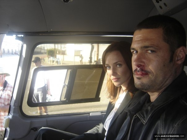Annie Wersching and Carlos Bernard on 24 set