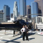 Annie Wersching and Carlos Bernard with a helicopter
