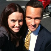 Annie Wersching and Chris Diamantopoulos on 24 set