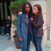 Annie Wersching with Enuka Okuma behind the scenes