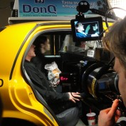 Annie Wersching and Kiefer filming taxi scene