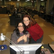 Annie Wersching with Janeane Garofalo on 24 FBI set