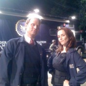 Annie Wersching and Jeffrey Nordling on 24 set