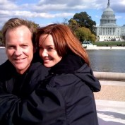 Annie Wersching and Kiefer Sutherland in Washington DC