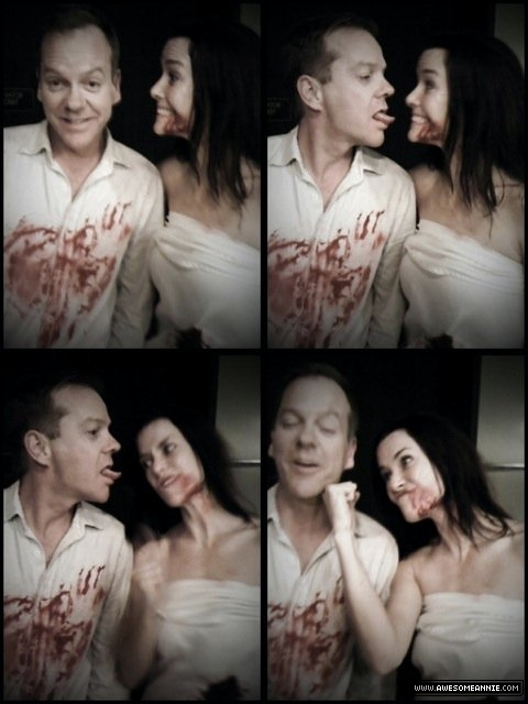 Annie Wersching and Kiefer Sutherland photo booth 24 S8 BTS