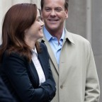 Annie Wersching and Kiefer Sutherland laughing while filming 24