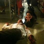 Annie Wersching with Jon Sklaroff behind the scenes 2