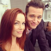 Annie Wersching and Seamus Dever on Castle set