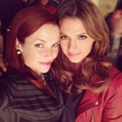Annie Wersching and Stana Katic on Castle set