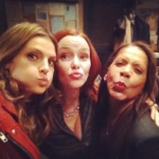 Annie Wersching, Stana Katic, and Penny Johnson Jerald on Castle set