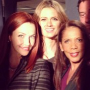Annie Wersching, Stana Katic, and Penny Johnson Jerald on set of Castle