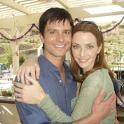 Annie Wersching with Jason Behr on Company Man set