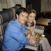 Annie Wersching with Jason Behr on Company Man set 04