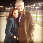 Annie Wersching with Patrick Duffy on set of Dallas