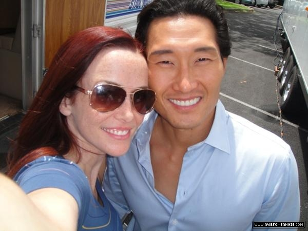 Annie Wersching and Daniel Dae Kim on set of Hawaii Five-0