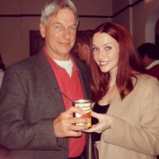 Annie Wersching with Mark Harmon behind the scenes of NCIS.