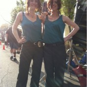 Annie Wersching with stunt double Danielle Litak