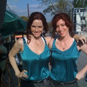 Annie Wersching and stunt double Danielle Litak