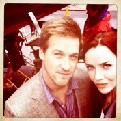 Annie Wersching and Kenneth Mitchell filming Partners