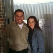 Annie Wersching with Matthew Cornwell on Partners set