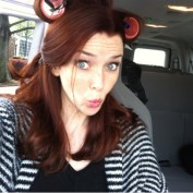 Annie Wersching hair prep on Partners set