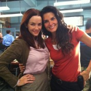 Annie Wersching and Angie Harmon on the set of Rizzoli and Isles