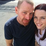 Annie Wersching and Max Martini on the set of Rizzoli and Isles