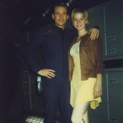 Annie Wersching and Connor Trinneer on set of Star Trek Enterprise