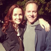 Annie Wersching and Kiefer Sutherland on Touch set