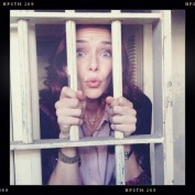 Annie Wersching behind the scenes of Touch - behind bars