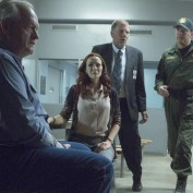 "TOUCH:  Dr. Kate Gordon (guest star Annie Wersching, second from L) meets with her father (guest star Paul Vincent O'Connor, L) before he is set to be executed in the ""Clockwork"" episode of TOUCH airing Friday, March 29 (9:00-10:00 PM ET/PT) on FOX.  Also pictured:  Scott Klace, C.  ©2013 Fox Broadcasting Co.  Cr:  Isabella Vosmikova/FOX"
