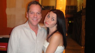 Annie Wersching and Kiefer Sutherland behind the scenes of 24