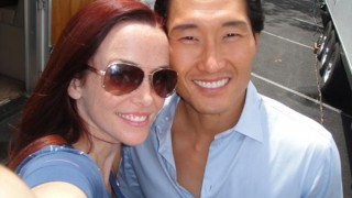 Annie Wersching and Daniel Dae Kim on set of Hawaii Five 0